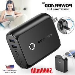 Portable Power Bank 5000mAh 2-in-1 Wall Quick Charge With Bu