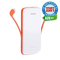 10000mAh Power Bank with Built-in Type C and Micro USB Cable