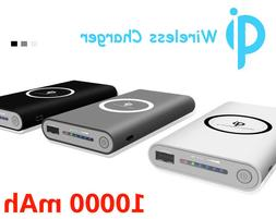 10000mAh Qi Wireless Charger Power Bank Backup Battery for P