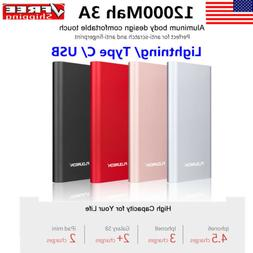 12000mah power bank lightning type c usb