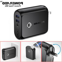 2 IN 1 5000mAh Power Bank Dual USB Portable Charger Wall Cha