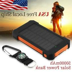 50000mAh Solar Power Bank Dual-USB Battery Charge Portable W