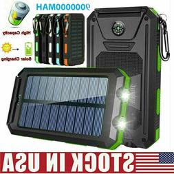 2000000mAh Solar Power Bank LED Dual USB Backup Battery Char