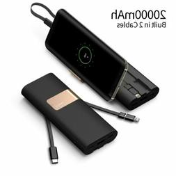 20000mAh Power Bank QC3.0 Built-in Type-C & Micro USB Cables