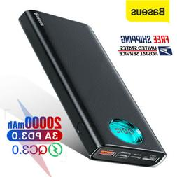 Baseus 20000mAh LED Power Bank USB Type C PD 3.0 Quick Charg