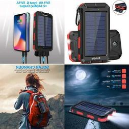 20000mAh Solar Power Bank Battery Charger 2 USB Waterproof P