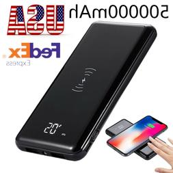 2019 Popular Qi Wireless Charger 500000mAh Power Bank Extern