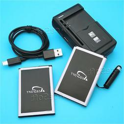 AceSoft 2x 3220mAh Battery External Charger USB Cable for LG