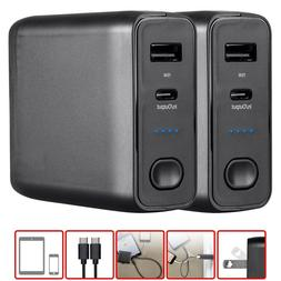 2x Portable Smartphone Wall Charger & Power Bank 5000mAh Dua