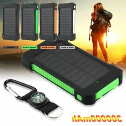300000mah Solar Panel Power Bank LED USB Backup Battery Char