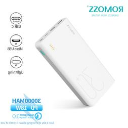 ROMOSS 30000mAh Power Bank 18W PD 2-Way Type-C Quick Charge