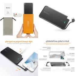 5000Mah Ultra Slim Gift Portable Charger Built In USB C Cabl