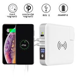 6700mAh Portable LCD External Battery Wireless Charger Power