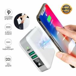 6700mAh Power Bank Qi Wireless Charging 2USB Type-C LED Port