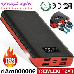 900000mAh Portable Power Bank 4USB External Battery Backup C