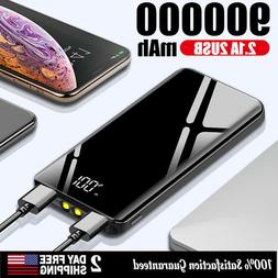 900000mAh Power Bank UltraThin Dual USB Portable External Ba