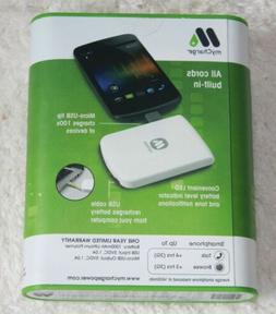 BRAND NEW MyCharge White 1000 mAh Rechargeable Power Bank Vo
