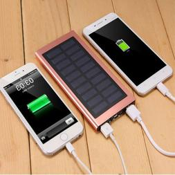 Dual USB Solar Power Bank Case Kit Ultra Thin 20000mAh Porta
