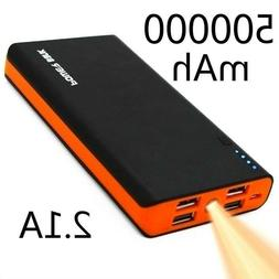 High Capacity 500000mAh Portable 4USB Power Bank LED Externa