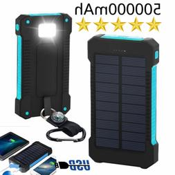 High Capacity Solar Power Bank 500000mAh 2 USB Charger Trave