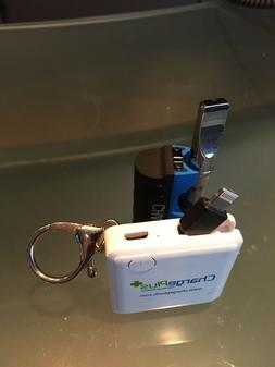 Key Chain Power Bank Charger built in 2&1 connector fits bot