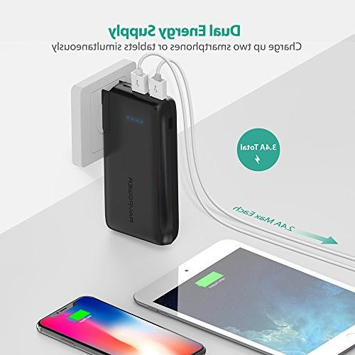 Portable RAVPower 2-in-1 Wall Power Capacity with iSmart 2.0 3.4A Max Output iPhone XS, iPhone iPad, Samsung