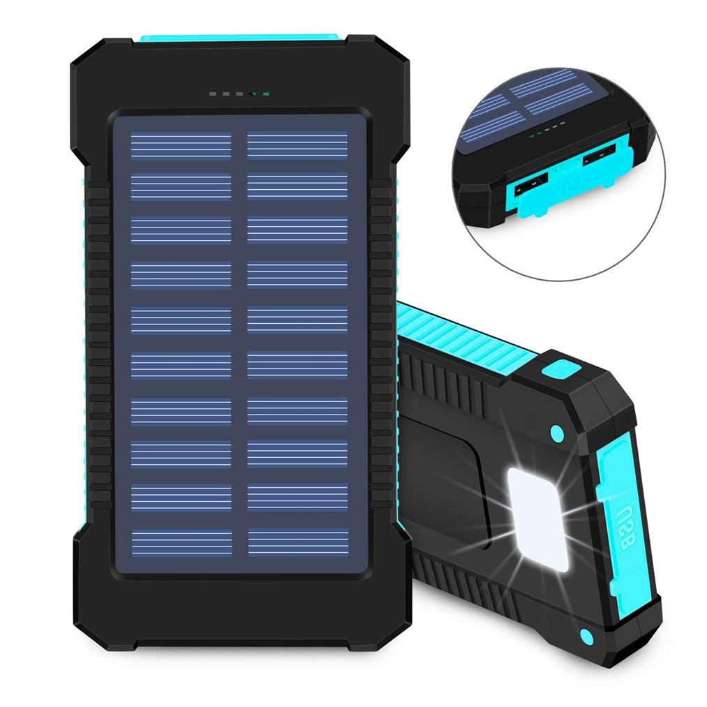 15000 mAh Waterproof USB Portable Solar Battery Pack Charger