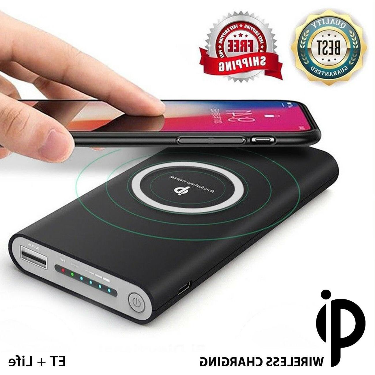 10000mAh Qi Wireless Charger Power Bank Backup Battery for i