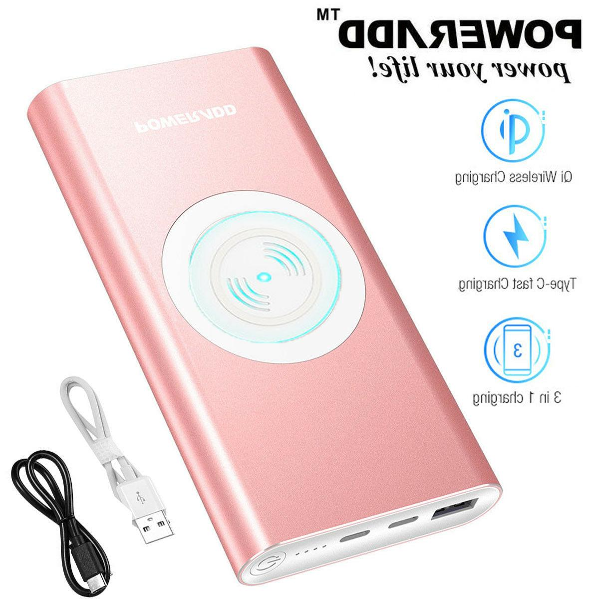 10000mah qi wireless power bank portable charger