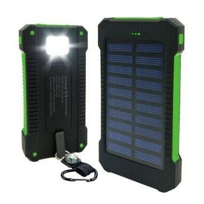 Waterproof Solar Power Bank Dual USB 1A/2A Battery Charger F