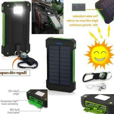 Portable 50000mAh Solar Power Bank 2 USB Outdoor Charger Wat