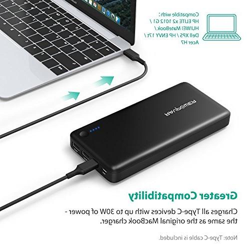 RAVPower 26800 Charger 26800mAh Switch, USB Type-C 2016 MacBook Power Delivery Support