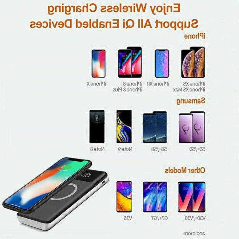 500000mAh Bank 2USB Qi Wireless Charger Battery For