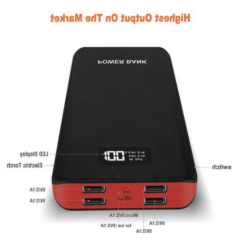 4USB 50000mAh Power Bank LCD LED Battery Charger For Apple i