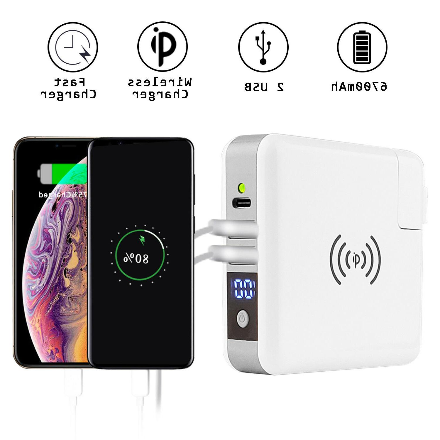6700mah portable lcd external battery wireless charger
