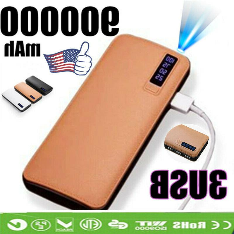 900000mah portable power bank 3 usb led