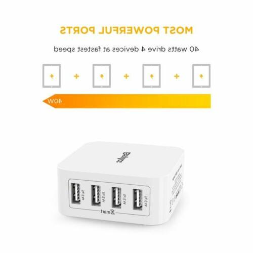 EasyAcc Charger 4-Port Charger with Foldable