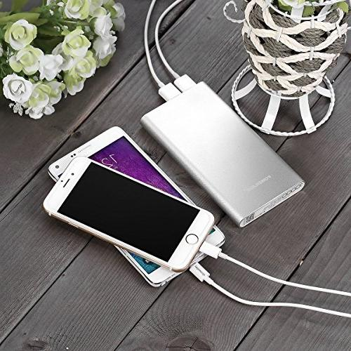 POWERADD 2nd 2GS 10000mAh Dual Port 3.4A Portable Charge for iPhone, Samsung, Tablet- Silver