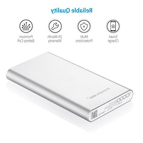 POWERADD 2nd Dual Portable Charger Charge for iPad, Tablet- Silver