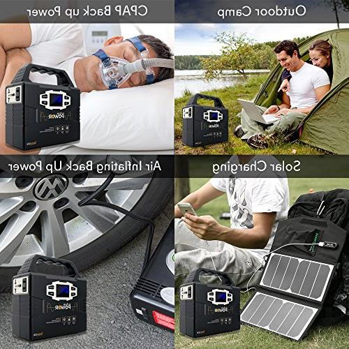 SereneLife Portable Power Station, Free CPAP Battery by Solar Panel/Wall Outlet/Car with 110V AC Outlet,3 12V, USB Port