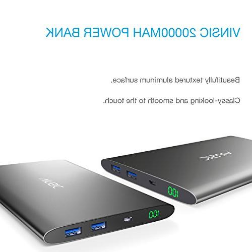 Vinsic Power for 5/5S, Dual USB Portable External Battery Charger for Samsung, Cell