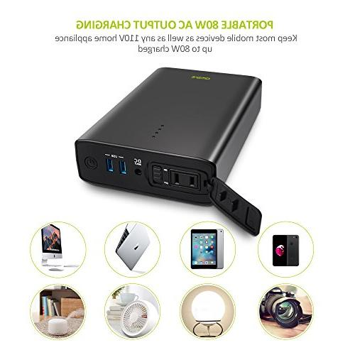 AC Outlet Portable Charger, 80W AC Power Bank Battery Pack MacBook Laptops and Devices 80W