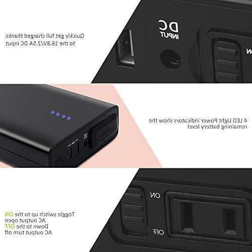 AC Outlet Portable Charger, AC Power Battery Pack Compatible MacBook Devices Under 80W