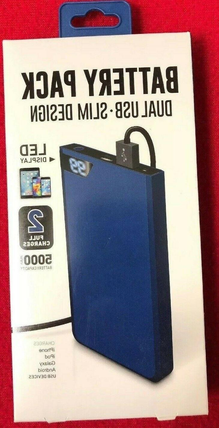 dual usb slim rechargeable battery pack power