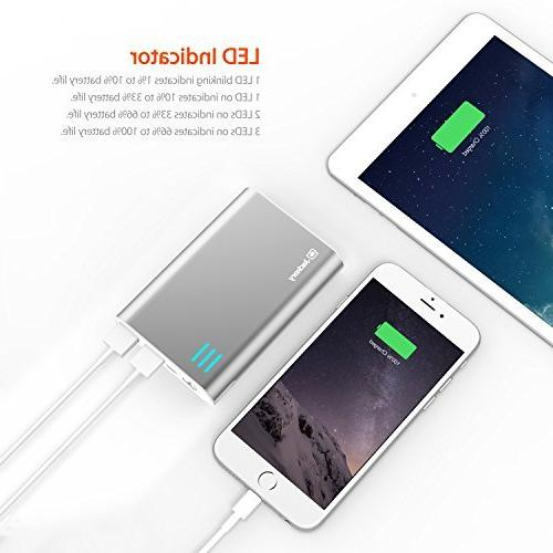 Jackery Portable High Dual-Port External Power Bank Backup Charger Output 5C, 5, 4S, iPad Air, 4, 2, Mini, iPod Samsung S3, S2, 2, HTC One, EVO, Incredible, Droid ATRIX, Moto X, Glass, 4, 7, LG Optimus, PS HD+, and