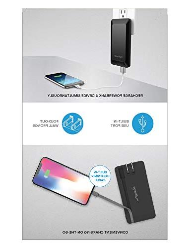 8000mAh Power Charger, Cable, Dual Port, Foldable Wall