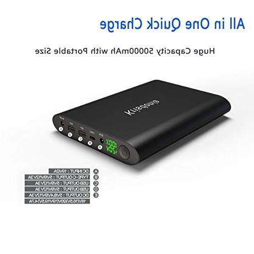 Krisdonia 50000mAh Laptop Bank 5/8.4/9/12/16/20V Portable Battery Charger for Dell, HP, Acer, and