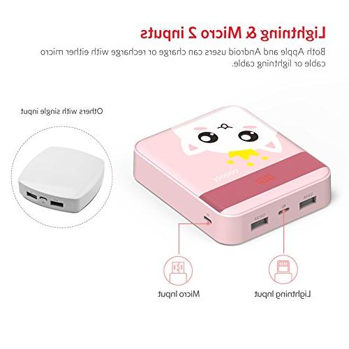 Yoobao M4Pro Bank Small Portable Powerbank External Cell Battery Compatible Pink Cat