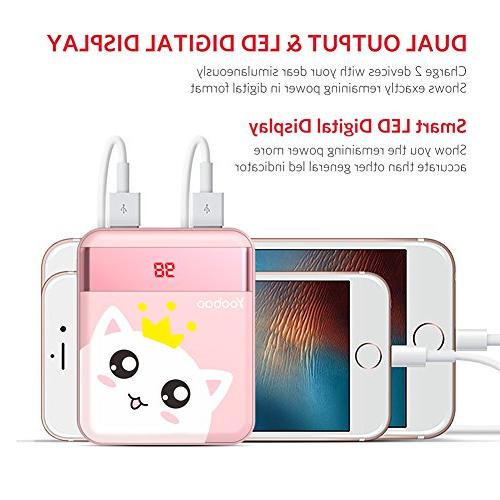 Bank Portable Charger Powerbank External Cell Battery Cellphone Smartphone Tablet - Pink Cat