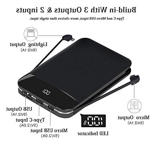 Mobile Slim Portable Phone External LCD Display Built in Cables for iPhone, iPad, and More